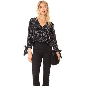 Madewell Silk Star Scatter Tie-Sleeve Top in black with white stars size Medium